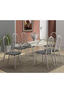Mesa 379 Com Vidro Incolor Cromada Com 6 Cadeiras 182 Fantasia Preto Carraro