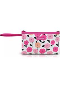 Necessaire Com Alça Tam. P Estampa Flores Jacki Design Pink Lover Pink - Kanui