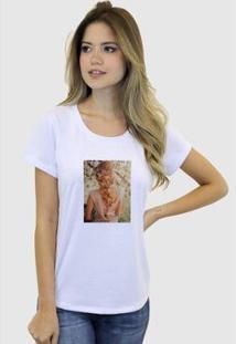 Camiseta Suffix Blusa Estampa Aplicada Em Tecido Cabelo Loira Strass Basica Gola Redonda Feminina - Feminino-Branco