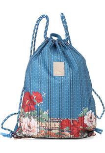 Bolsa Farm Saco Estampada Feminina - Masculino-Azul+Vermelho
