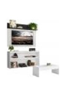 "Rack C/ Painel E Suporte Tv 55"" Com Mesa De Centro Atualle Plus Multimóveis Branco/Preto"