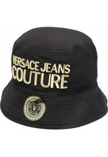 Versace Jeans Couture Chapéu Bucket Com Bordado - Preto