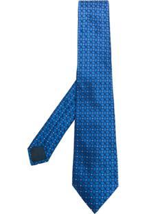 Lanvin Gravata De Seda Com Poás - Azul