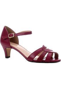 Sandália Couro Shoestock Tiras Salto Baixo Feminina - Feminino-Rosa