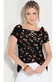 Blusa Floral Preto Com Amarração