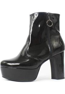 Bota Damannu Shoes Nancy Verniz Feminina - Feminino-Preto