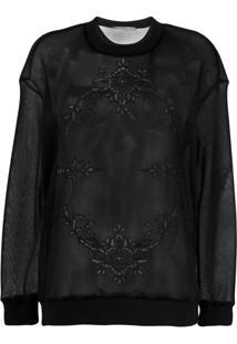 Stella Mccartney Blusa De Moletom Com Bordado Translúcido - Preto