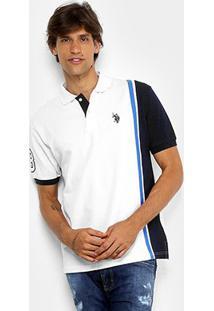 Camisa Polo Piquet Listrada U.S.Polo Assn Masculina - Masculino-Amarelo