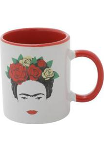 Mini Caneca De Porcelana Frida Kahlo Head And Flowers Branco 140 Ml