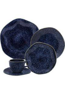 Aparelho De Jantar E Chá Oxford 92418 30 Peças Ryo Safira Azul