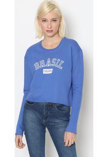 "Blusã£O Em Moletinho ""Brasil"" - Azul & Brancocalvin Klein"