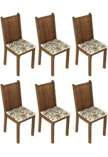 Kit 6 Cadeiras 4290 Rustic E Lírio Bege Madesa