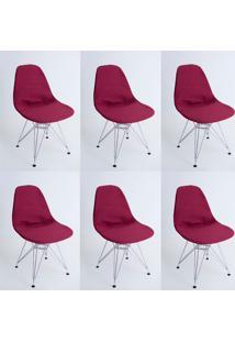 Kit Com 06 Capas Para Cadeira Eiffel Charles Eames Wood Vinho