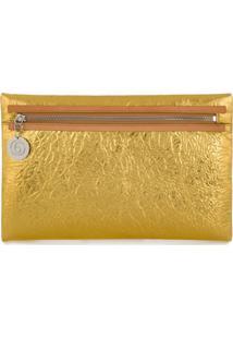 Mm6 Maison Margiela Clutch Metalizada Texturizada - Dourado