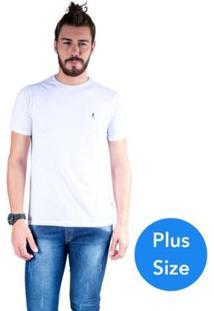 Camiseta Mister Fish Gola Careca Basic Top Hat Plus Size Masculina - Masculino-Branco
