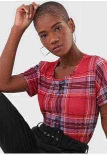 Camiseta Lança Perfume Xadrez Vermelho
