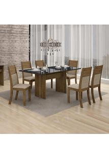 Conjunto De Mesa De Jantar Florença Com 6 Cadeiras Havai Linho Ype Preto