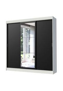 Guarda-Roupa Casal Madesa Istambul 3 Portas De Correr Com Espelho 3 Gavetas Branco/Preto Branco