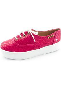 Tênis Flatform Quality Shoes Feminino 005 Verniz Matelassê Rosa Pink 37