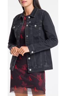 Jaqueta Jeans Feminina Trucker Bordado Ck One Preta Calvin Klein - P
