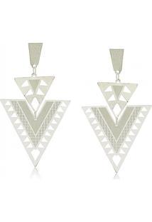 Brinco Triângulo Duplo Invertido Com Detalhes Fosco 3Rs Semijoias Prata