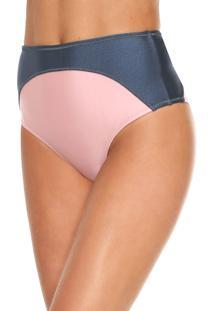 Calcinha Salinas Hot Pant Recortes Azul/Rosa