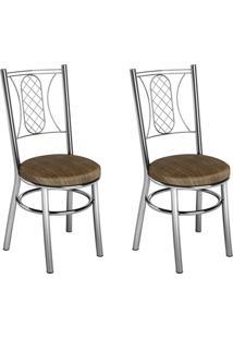 Conjunto 2 Cadeiras Ca-965 Cromada Mad.Marrom Assento Alto