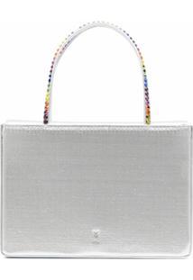 Amina Muaddi Metallic Tote Bag With Rainbow Crystal Top Handles - Prateado