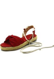 151ad545d8 Dafiti. Sandália Vermelha Com Salto Conforto Flor Flat Form Da Feminina  Pele Rasteira