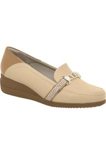 Loafer Anabela Com Aviamentos- Bege Claro & Marrom- Piccadilly