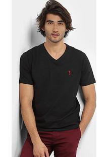 Camiseta Aleatory Bordado Masculina - Masculino-Preto