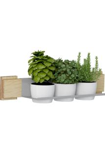 Kit Jardim Vertical 1003 Lyam Decor Green Com 03 Cachepots Bege