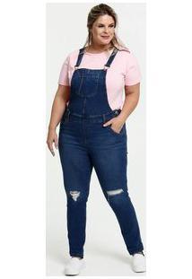 Macacão Feminino Jeans Destroyed Plus Size