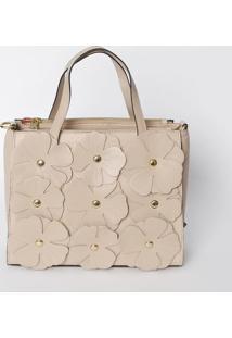 Bolsa Com Recortes De Flores- Nude & Dourada- 21X25,Griffazzi