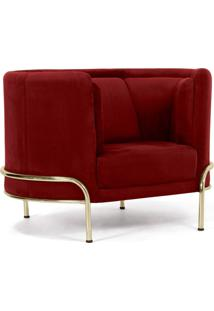 Poltrona Decorativa Para Sala De Estar Base D'Ouro Ferrara Veludo Vermelho - Gran Belo