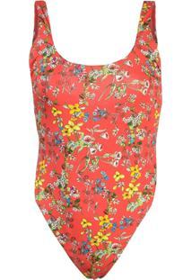 Alice+Olivia Arona Low Scoop Bodysuit - Vermelho
