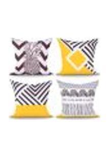 Capa Para Almofada De Sala Preta E Amarela Estampada Decorativa 4 Unidades 45Cm X 45Cm Com Zíper