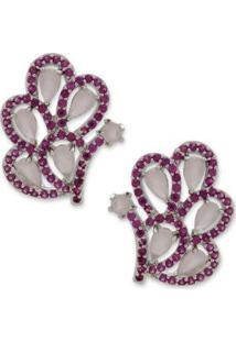 Brinco Borboleta Cravejado Com Zircônias Banho Em Ródio - Feminino-Pink+Rosa