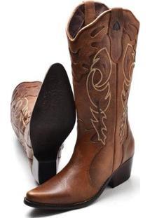 Bota Texana Click Calçados Country Cano Longo Lisa Com Ziper Feminina - Feminino-Marrom