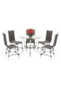 Jogo Cadeiras 5Un E Mesa Alta Sevilha Para Edicula Jardim Area Varanda Cozinha - Pedra Ferro