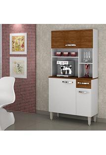 Armário De Cozinha 3 Portas Jaspe Sallêto Móveis Branco/Nogueira