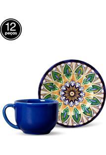 Conjunto 12Pçs Xícaras De Chá Porto Brasil Mônaco Indian Branco