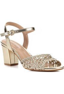 Sandália Shoestock Salto Bloco Macramê Feminina - Feminino-Dourado