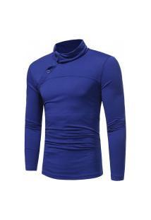 Camisa Masculina Slim Fit Botton - Azul Escura