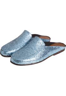 Mule Sapatos Elisa Marchi Capri Glitter Azul