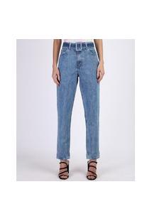 Calça Jeans Feminina Mom Cintura Alta Com Cinto E Bolsos Azul Claro