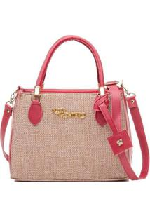 Bolsa Handbag Alice Monteiro Mão Tiracolo Palha Natural New - Feminino-Vermelho