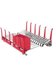 Escorredor De Louça Tramontina Plurale Em Aço Inox Com Porta-Copos E Porta Talheres Vermelho 61535560