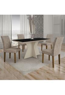 Conjunto De Mesa De Jantar Creta Com 4 Cadeiras Olímpia Suede Preto E Cinza