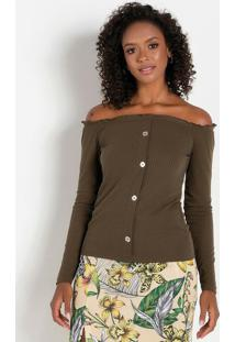 Blusa Com Botões Decorativos Verde